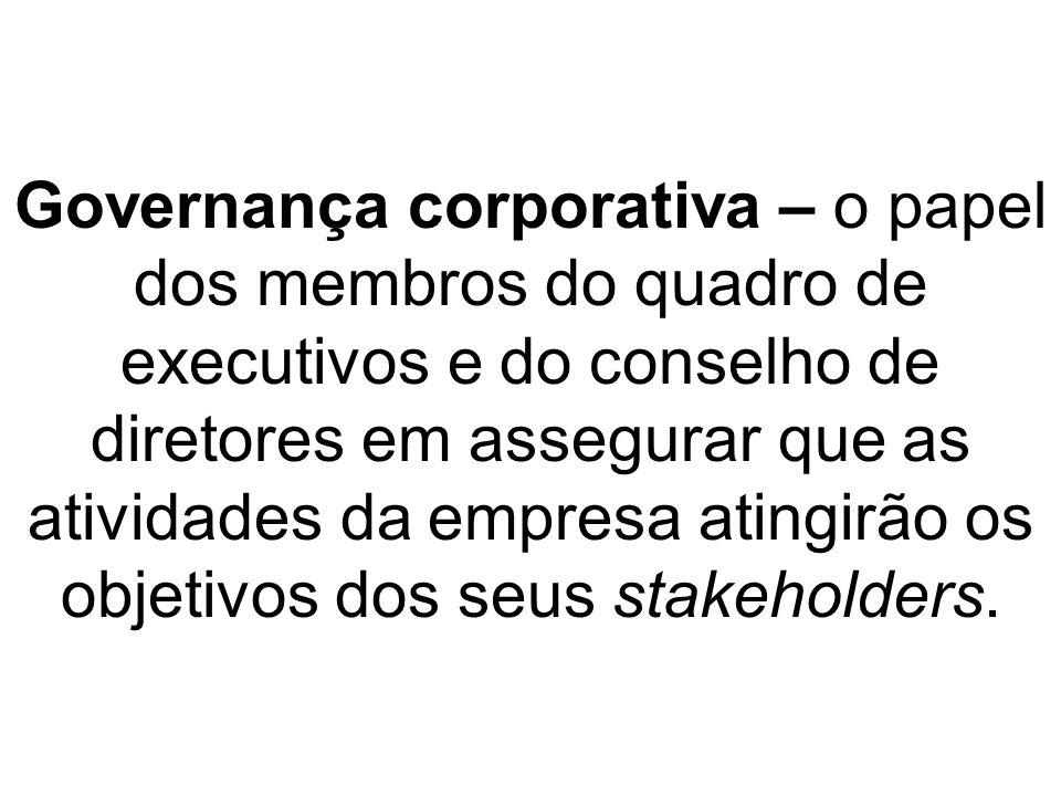 Governança corporativa – o papel dos membros do quadro de executivos e do conselho de diretores em assegurar que as atividades da empresa atingirão os objetivos dos seus stakeholders.