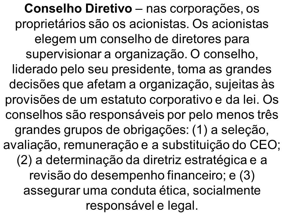 Conselho Diretivo – nas corporações, os proprietários são os acionistas.