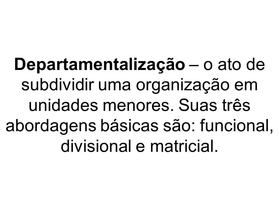 Departamentalização – o ato de subdividir uma organização em unidades menores.