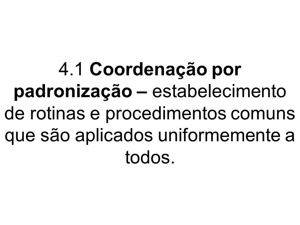 4.1 Coordenação por padronização – estabelecimento de rotinas e procedimentos comuns que são aplicados uniformemente a todos.