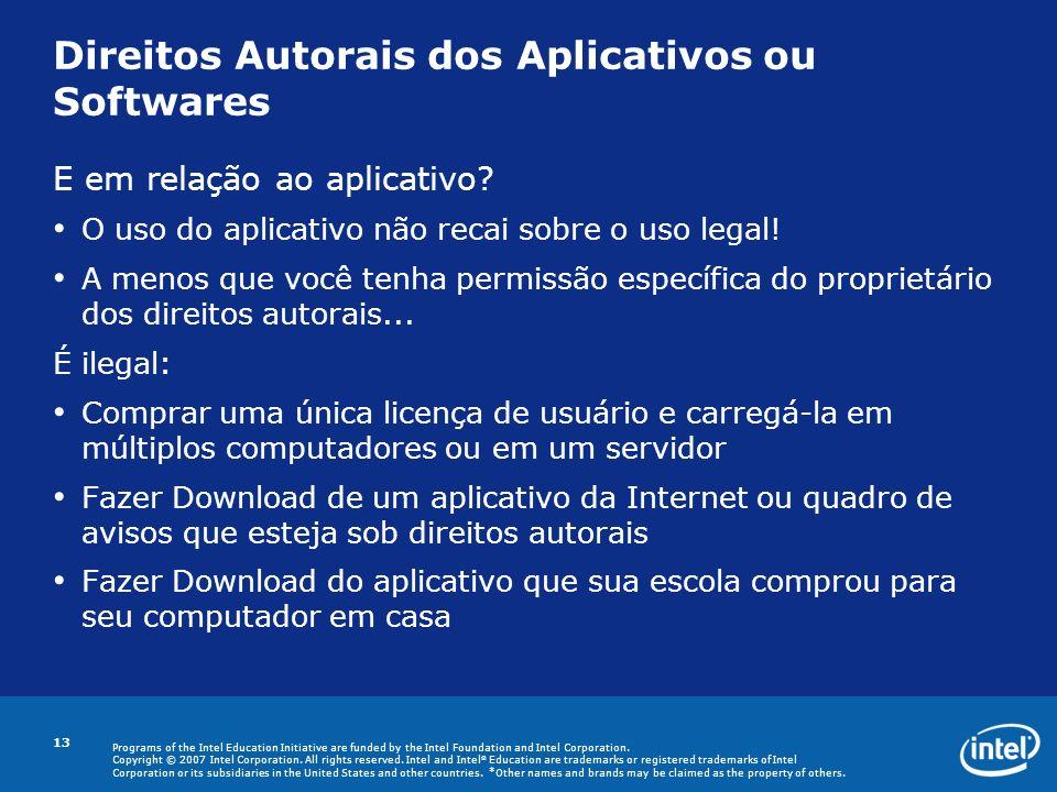 Direitos Autorais dos Aplicativos ou Softwares