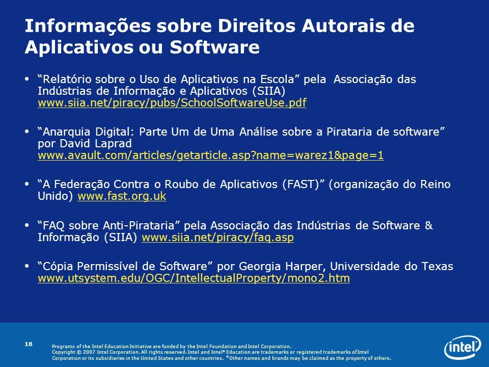 Informações sobre Direitos Autorais de Aplicativos ou Software
