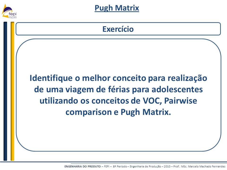 Pugh Matrix Exercício.