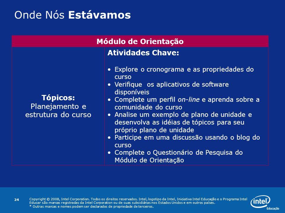 Planejamento e estrutura do curso