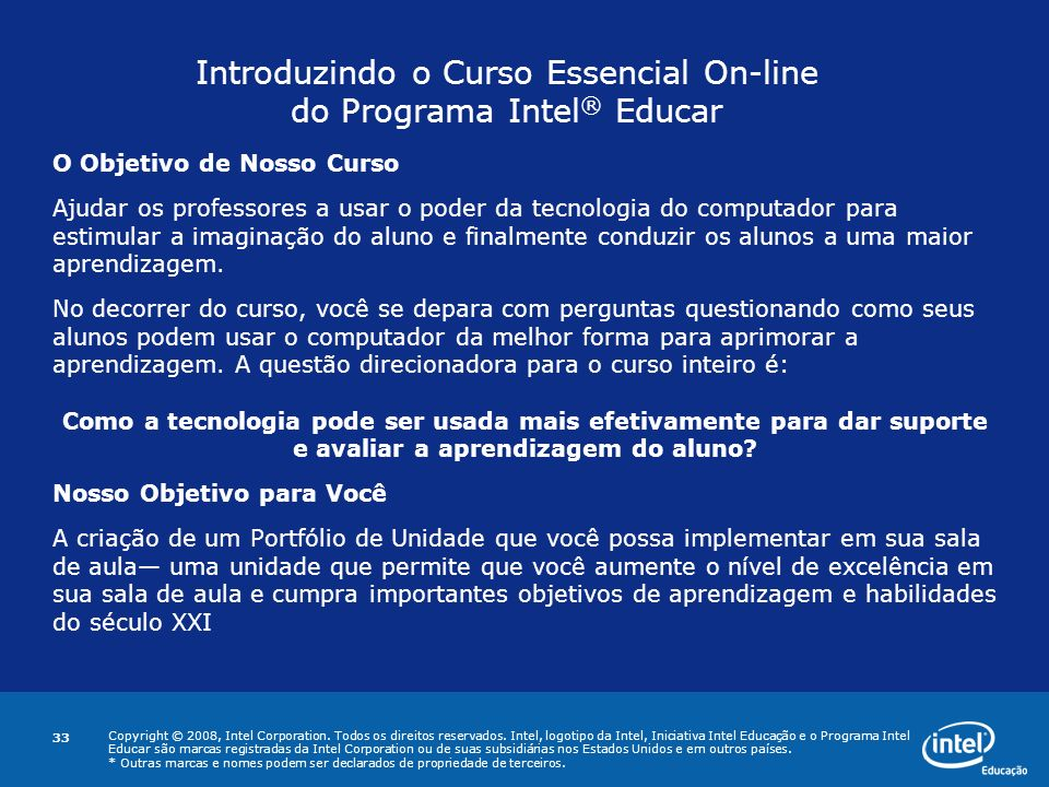 Introduzindo o Curso Essencial On-line do Programa Intel® Educar