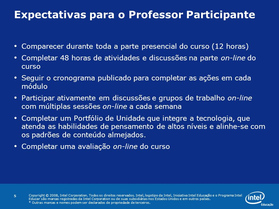 Expectativas para o Professor Participante