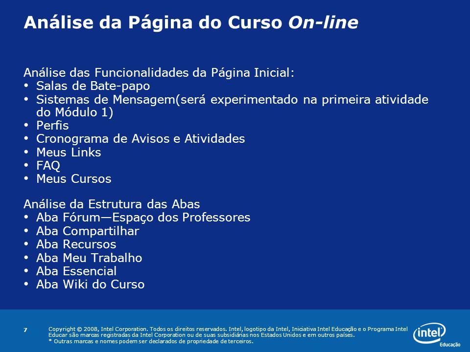 Análise da Página do Curso On-line
