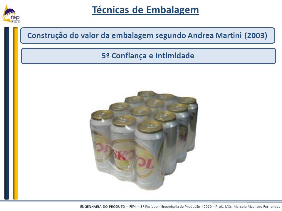 Técnicas de Embalagem Construção do valor da embalagem segundo Andrea Martini (2003) 5º Confiança e Intimidade.