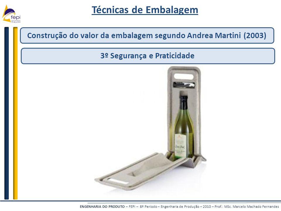 Técnicas de Embalagem Construção do valor da embalagem segundo Andrea Martini (2003) 3º Segurança e Praticidade.