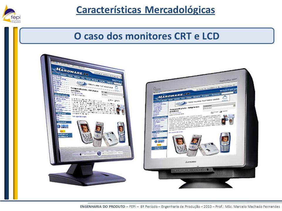 Características Mercadológicas O caso dos monitores CRT e LCD