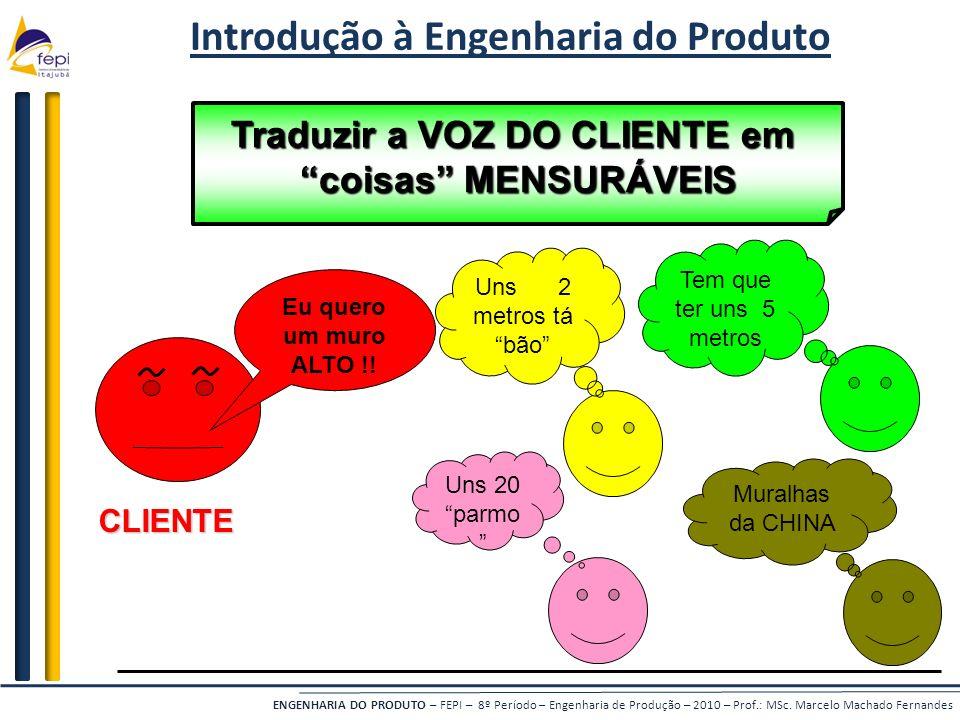 Introdução à Engenharia do Produto Traduzir a VOZ DO CLIENTE em