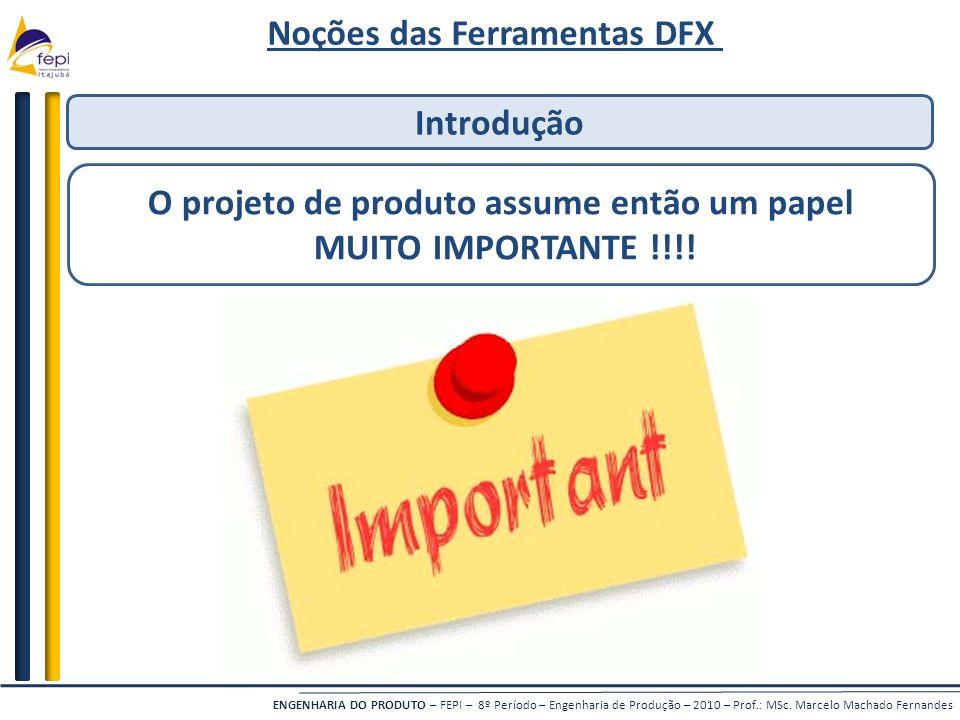 Noções das Ferramentas DFX O projeto de produto assume então um papel