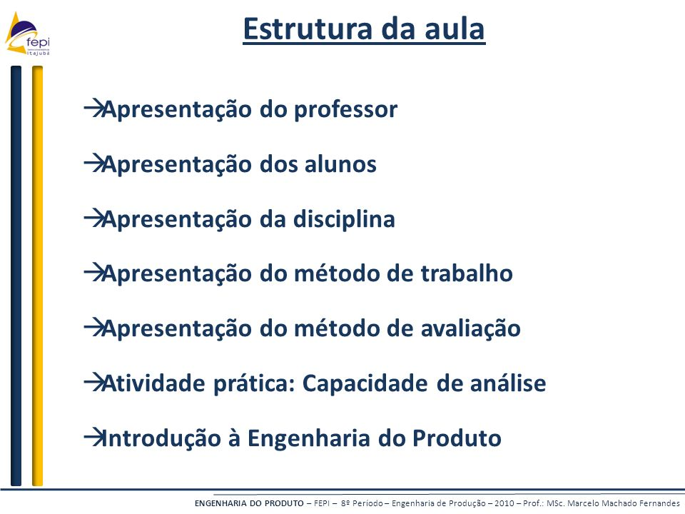Estrutura da aula Apresentação do professor Apresentação dos alunos