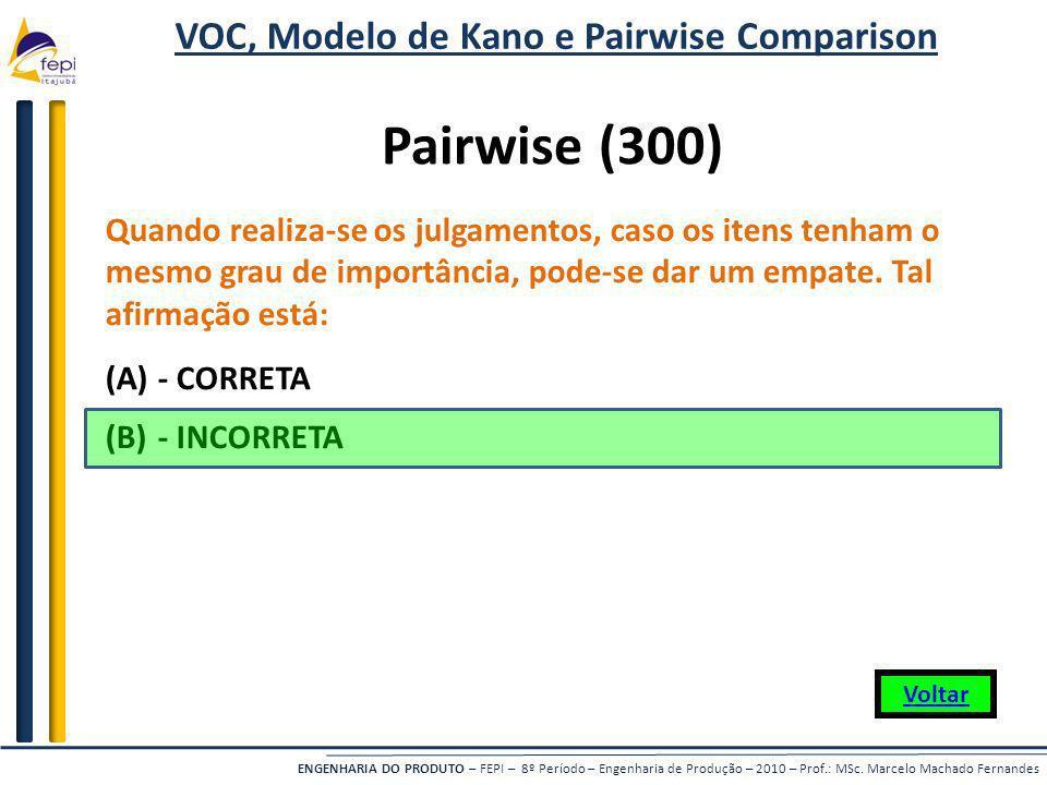 VOC, Modelo de Kano e Pairwise Comparison