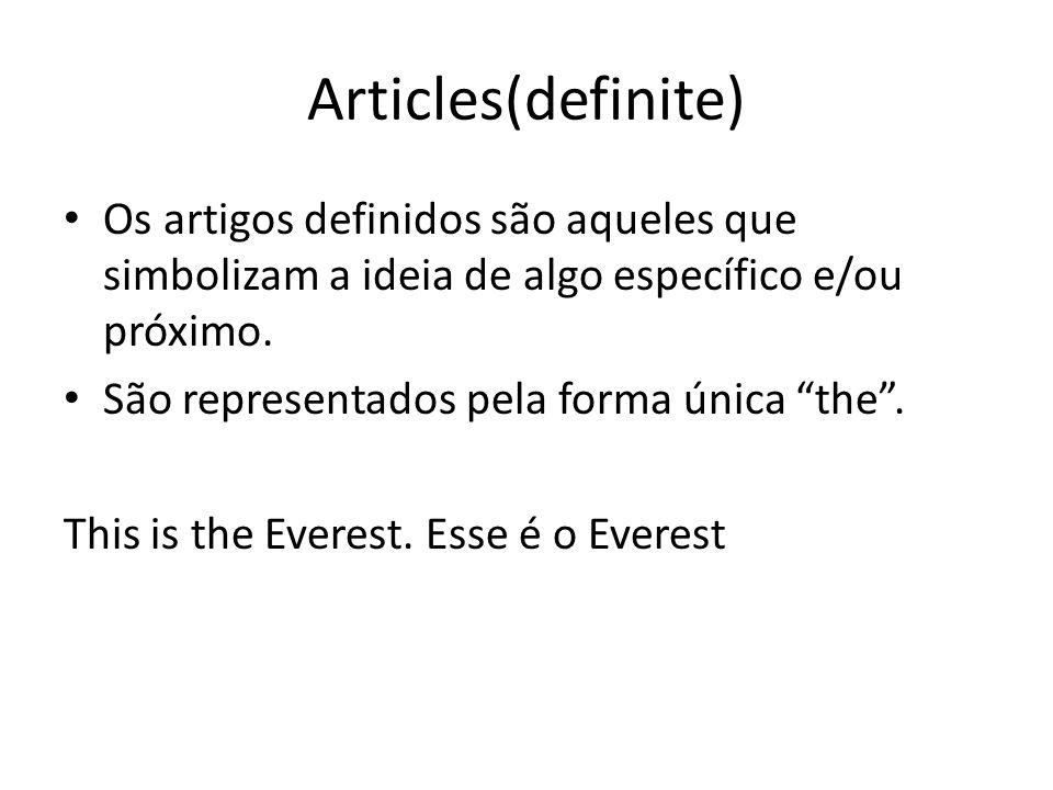 O que sao artigos definidos
