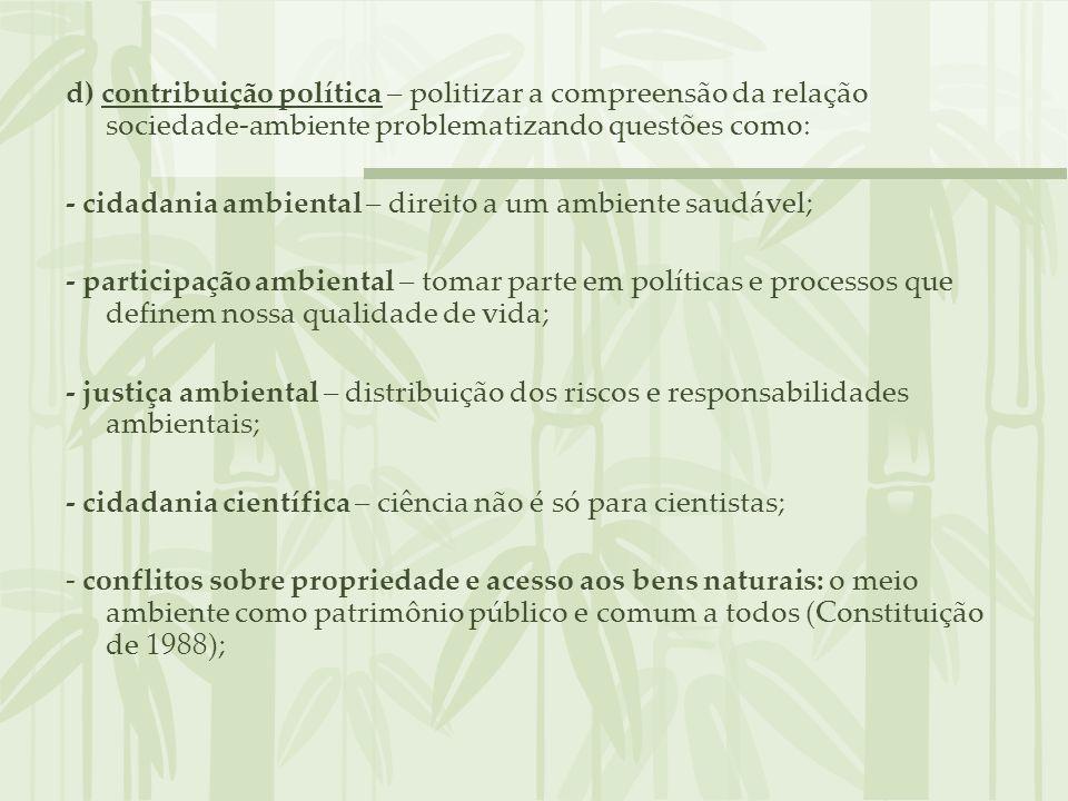 d) contribuição política – politizar a compreensão da relação sociedade-ambiente problematizando questões como: