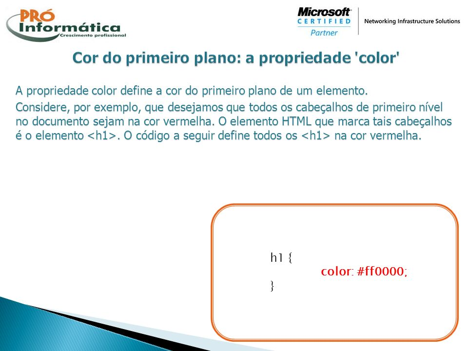 Cor do primeiro plano: a propriedade color