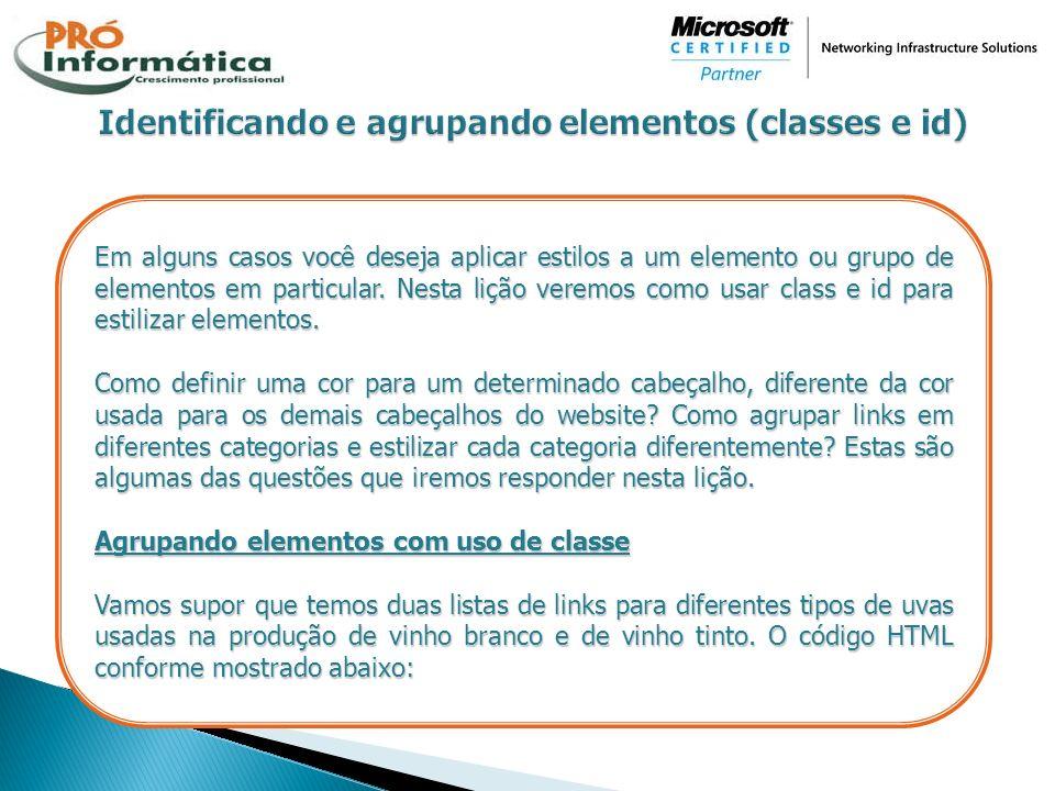 Identificando e agrupando elementos (classes e id)