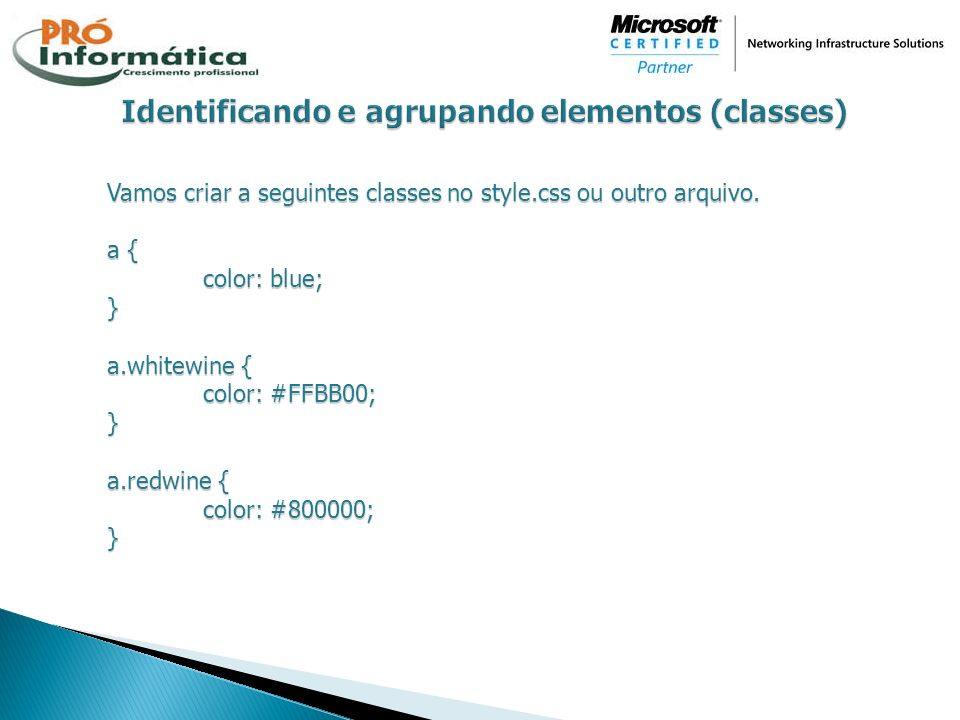 Identificando e agrupando elementos (classes)