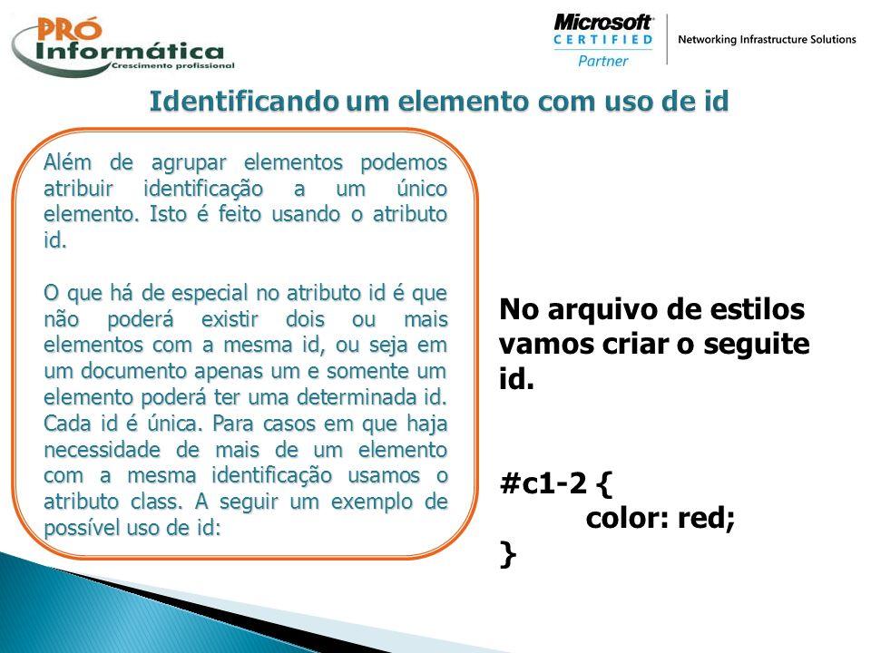 Identificando um elemento com uso de id