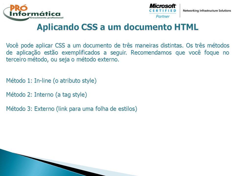 Aplicando CSS a um documento HTML