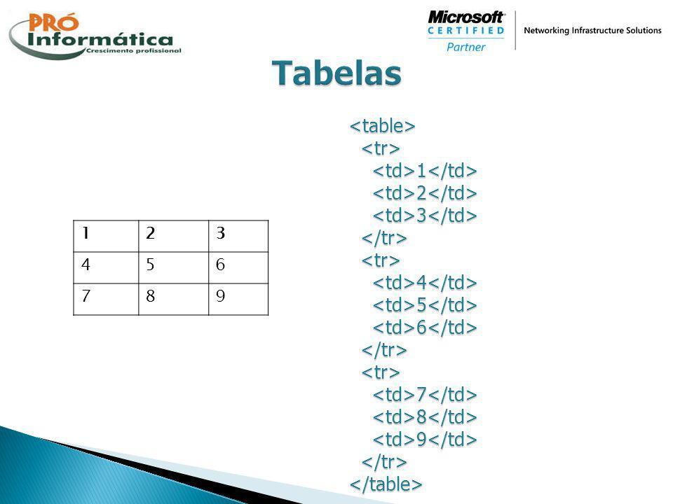 Tabelas <table> <tr> <td>1</td> <td>2</td> <td>3</td> </tr> <td>4</td> <td>5</td> <td>6</td> <td>7</td> <td>8</td> <td>9</td> </table>