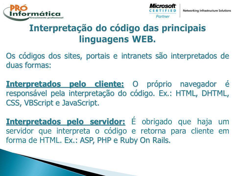 Interpretação do código das principais linguagens WEB.