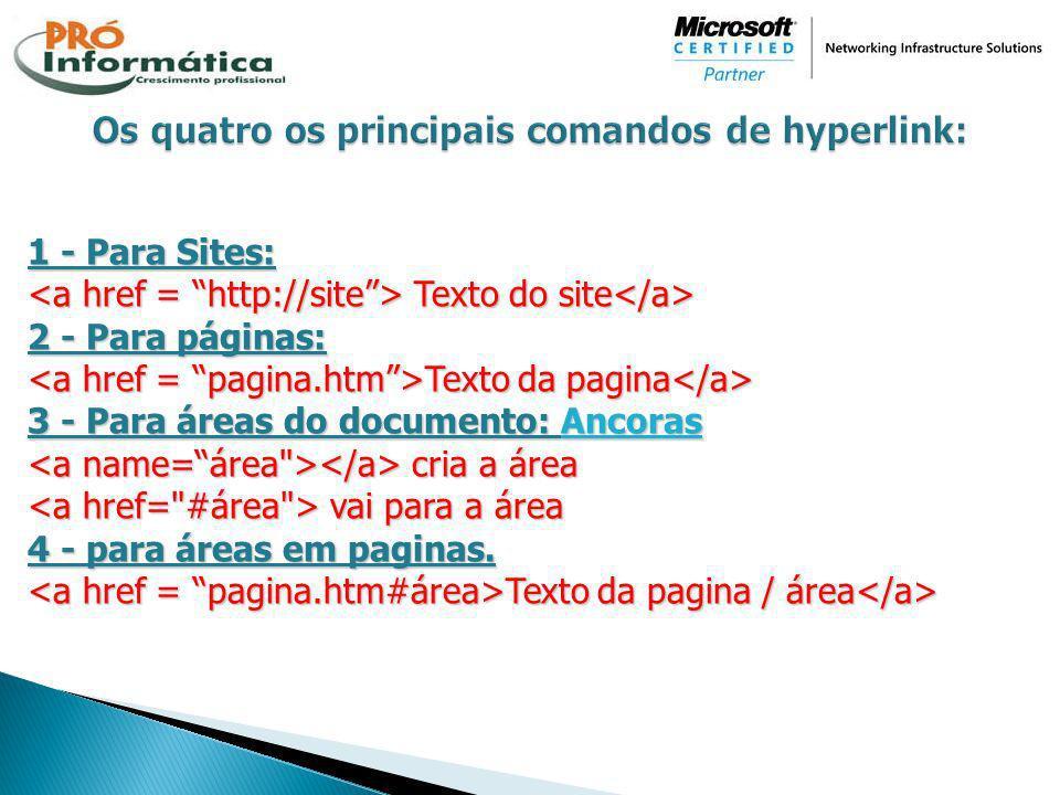 Os quatro os principais comandos de hyperlink:
