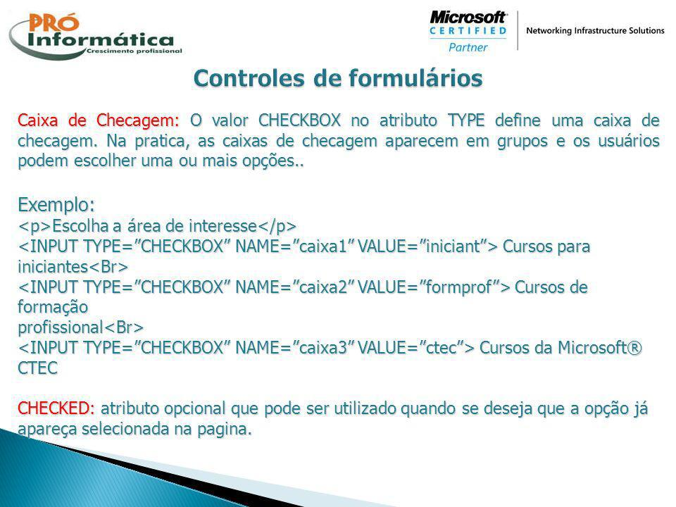 Controles de formulários