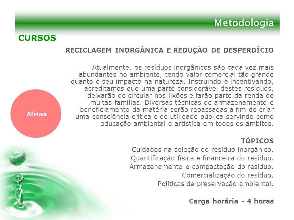 Metodologia CURSOS RECICLAGEM INORGÂNICA E REDUÇÃO DE DESPERDÍCIO