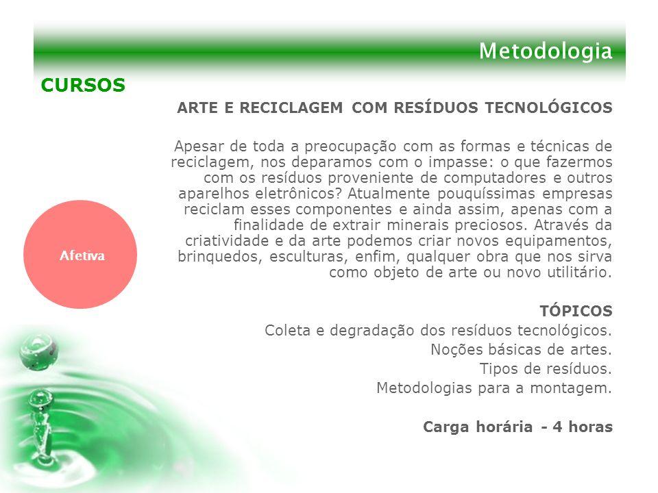 Metodologia CURSOS ARTE E RECICLAGEM COM RESÍDUOS TECNOLÓGICOS