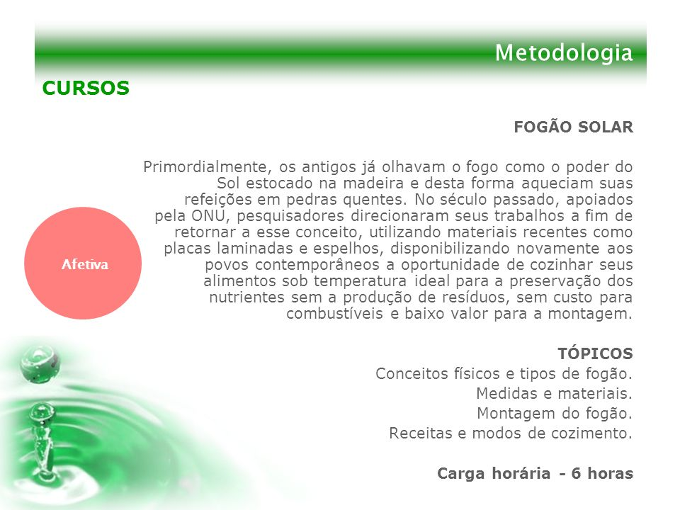 Metodologia CURSOS FOGÃO SOLAR