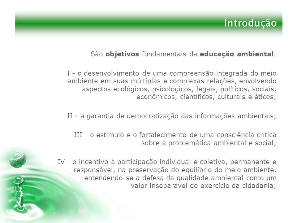 Introdução São objetivos fundamentais da educação ambiental: