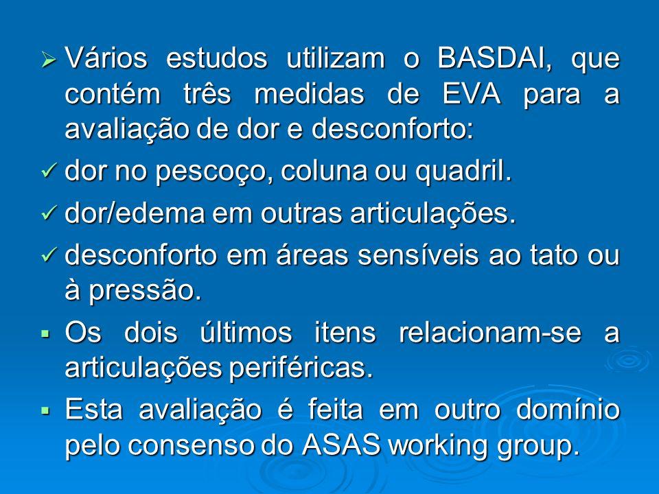 Vários estudos utilizam o BASDAI, que contém três medidas de EVA para a avaliação de dor e desconforto:
