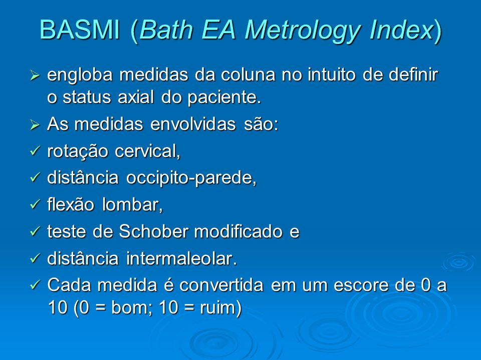 BASMI (Bath EA Metrology Index)