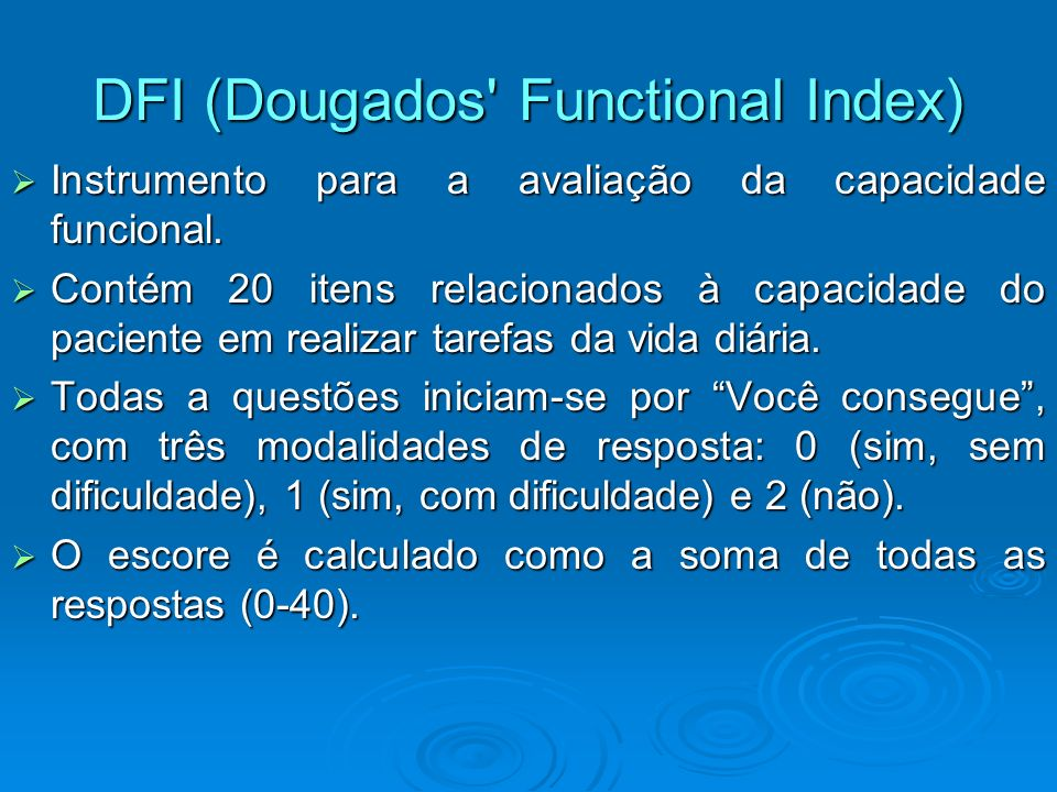 DFI (Dougados Functional Index)