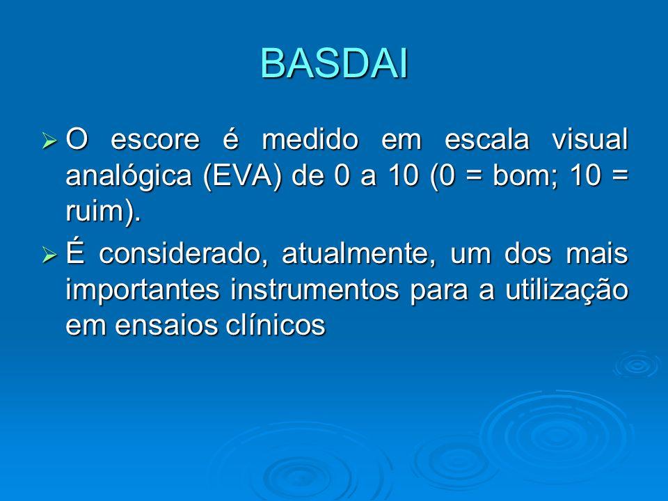 BASDAI O escore é medido em escala visual analógica (EVA) de 0 a 10 (0 = bom; 10 = ruim).