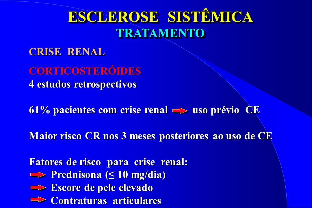 ESCLEROSE SISTÊMICA TRATAMENTO CRISE RENAL CORTICOSTERÓIDES