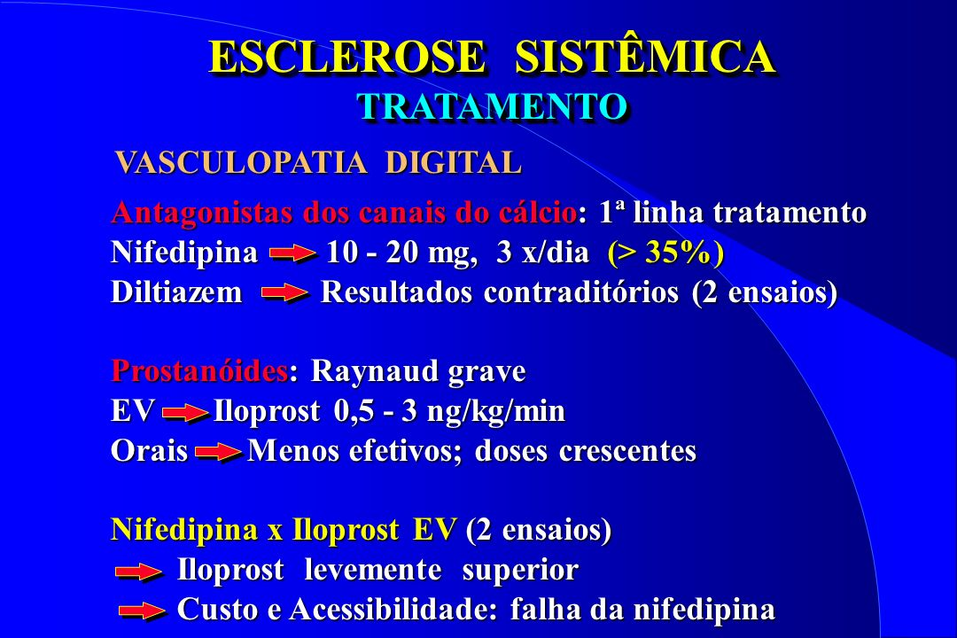 ESCLEROSE SISTÊMICA TRATAMENTO VASCULOPATIA DIGITAL