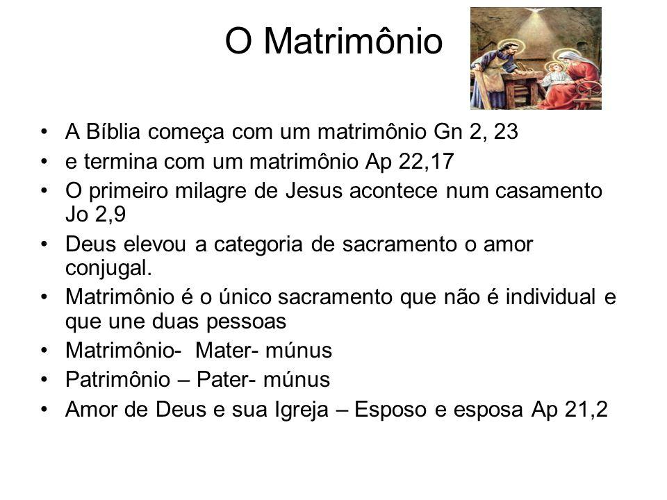 O Matrimônio A Bíblia começa com um matrimônio Gn 2, 23