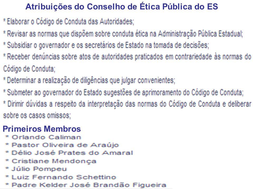 Atribuições do Conselho de Ética Pública do ES