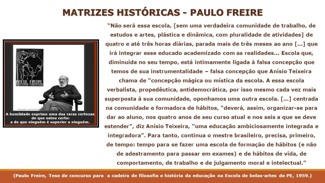 MATRIZES HISTÓRICAS - PAULO FREIRE