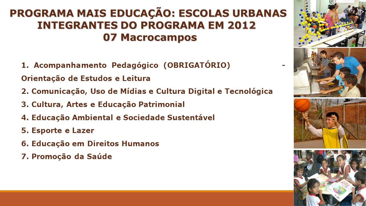 PROGRAMA MAIS EDUCAÇÃO: ESCOLAS URBANAS INTEGRANTES DO PROGRAMA EM 2012