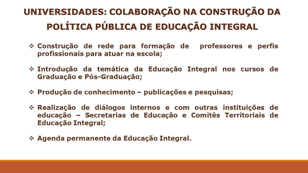 UNIVERSIDADES: COLABORAÇÃO NA CONSTRUÇÃO DA POLÍTICA PÚBLICA DE EDUCAÇÃO INTEGRAL