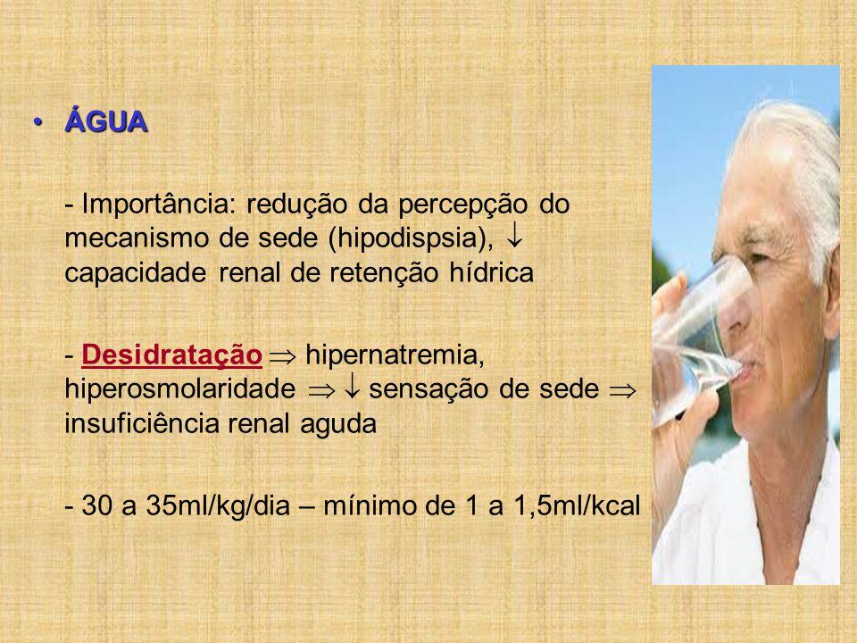 ÁGUA - Importância: redução da percepção do mecanismo de sede (hipodispsia),  capacidade renal de retenção hídrica.