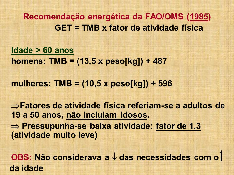 Recomendação energética da FAO/OMS (1985)