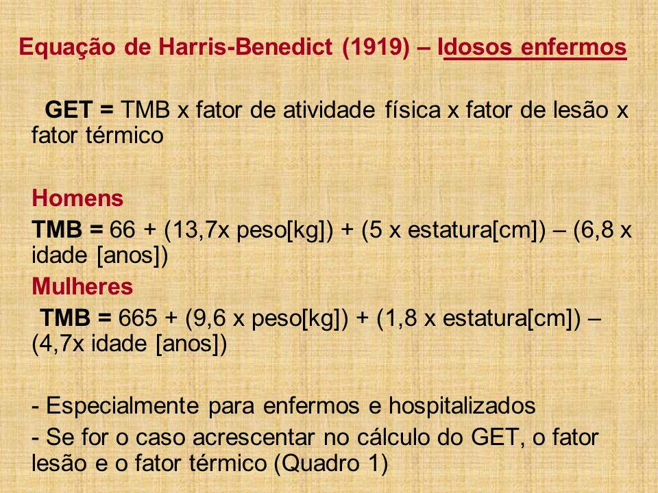 Equação de Harris-Benedict (1919) – Idosos enfermos