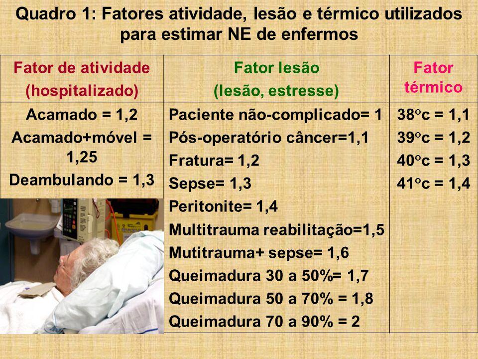 Quadro 1: Fatores atividade, lesão e térmico utilizados para estimar NE de enfermos