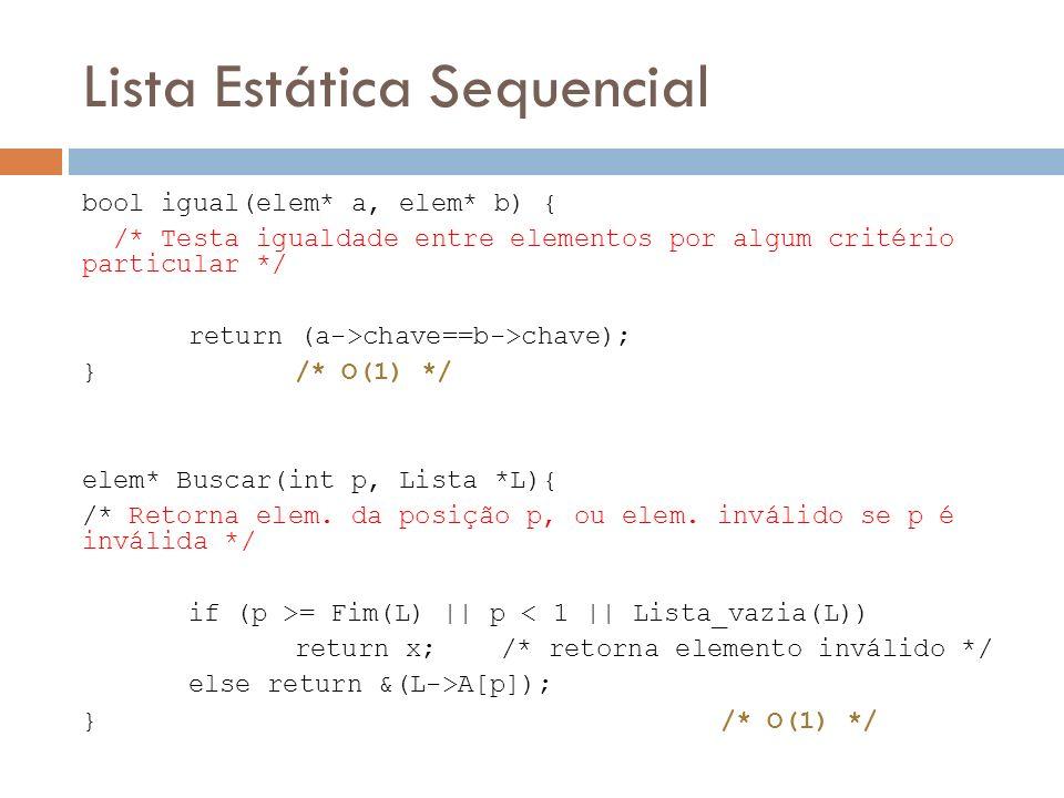 Lista Estática Sequencial