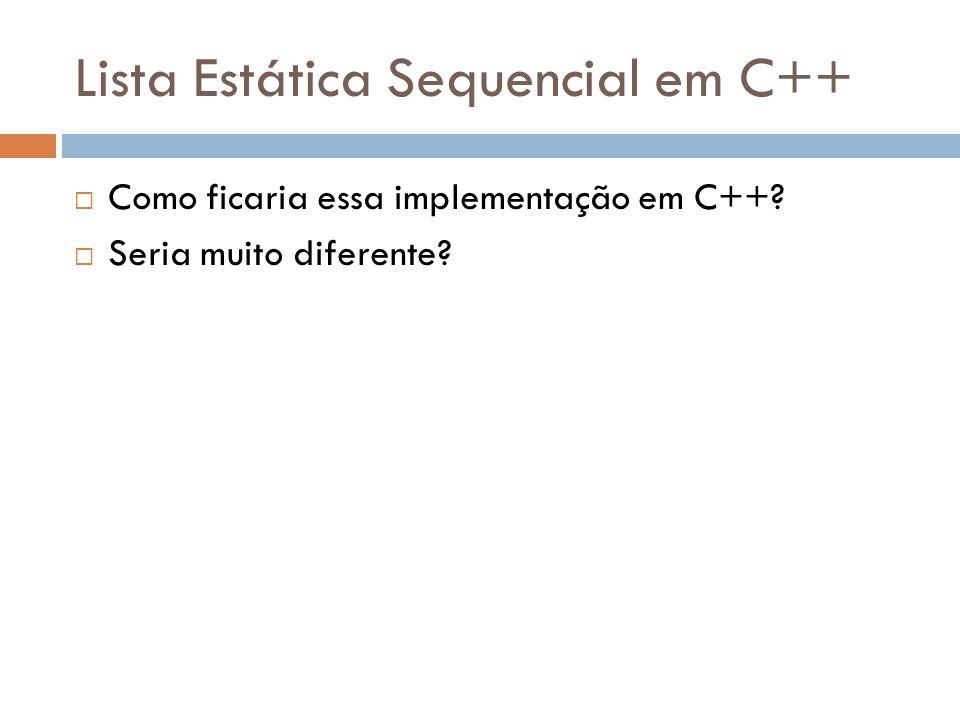 Lista Estática Sequencial em C++